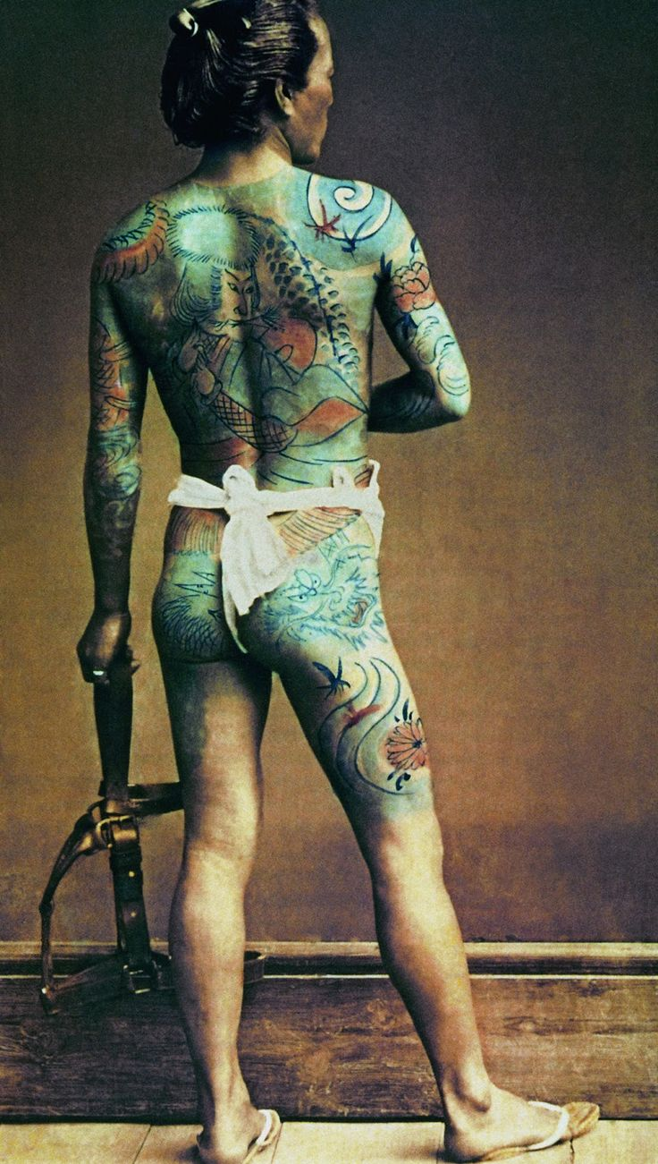 Man with traditional tattoos (irezumi), Japan, circa 1880. Private collection.© Private Collection / The Bridgeman Art Library