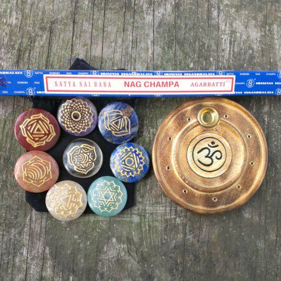 8 Piece Engraved CHAKRA HEALING STONES Set Plus Nag Champa Incense & Burner