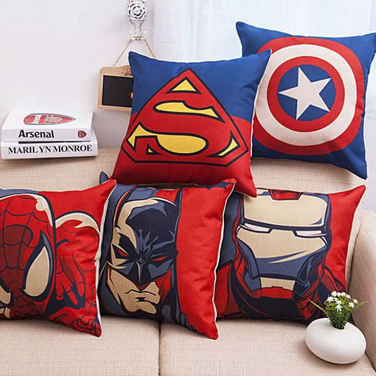 Superhero Avengers Supe cotton Linen cushion cover  cushions  for Sofas coffee shop office car home decor Throw Pillow Case - 10 MINUS