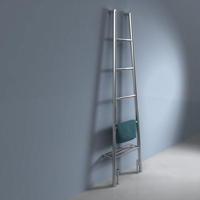 Designer Heated Towel Radiator - Leaning Ladder Towel Rail