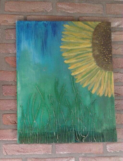 25 beste idee n over zonnebloem schilderijen op pinterest acryl schilderij bloemen - Doek voor tuinborstel ...