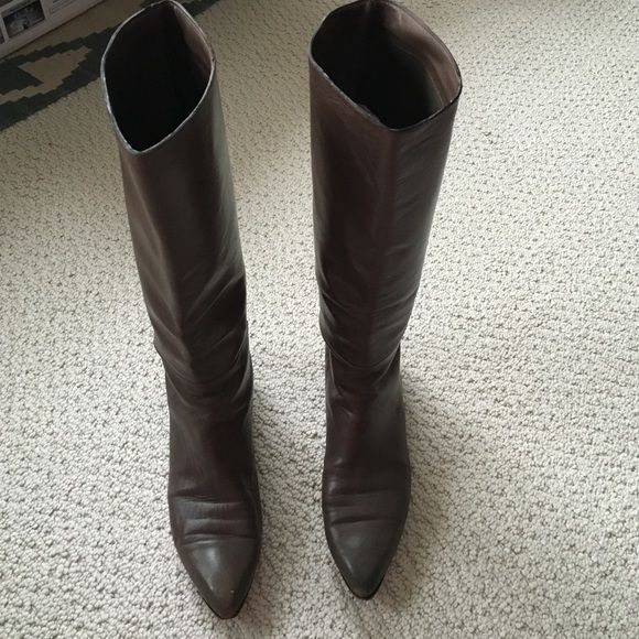 ❤️Vintage style hipster boots  - size 36 Vintagy boots.. I have definitely walked in them and enjoyed it! Got lots of compliments. They look great with skirt and tight jeans if you have skinny calves! Size 36. Sold as is. Heel has been redone on both boots and there is scuffing in the front and back. Some leather discoloration on the side. Excellent brand - costume national - high end designer and authentic Costume National Shoes