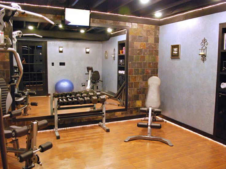 The brick patterned walls help give this home gym a spa like look. 38 best Home Gym Decorating Ideas images on Pinterest