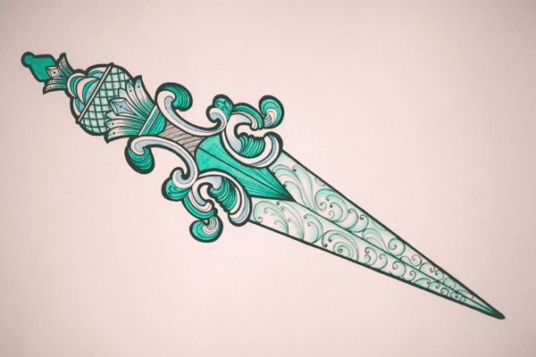 Crystalline dagger. Sketch & tattoo work.    by Aleksei Kosenkov, via Behance
