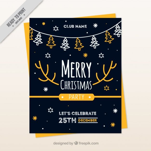 Christmas brochure template with trees and stars Free Vector
