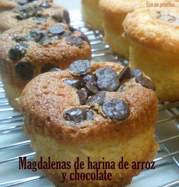 Magdalenas De Harina De Arroz Y Perlas De Chocolate Chocolate Sin Gluten Harina De Arroz Recetas Dulces Para Celiacos