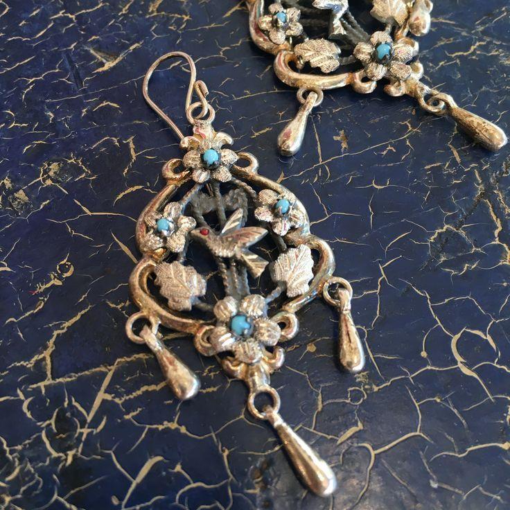 Grande Guanajuato Silver Baroque Earrings with 3 Dangles