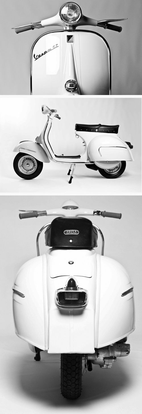Superbe triptyque d'un vespa blanc ! Je ne sais pas vous, mais moi je suis sous le charme de ce scooter épuré et classe ! #vespa #scooter #vintage