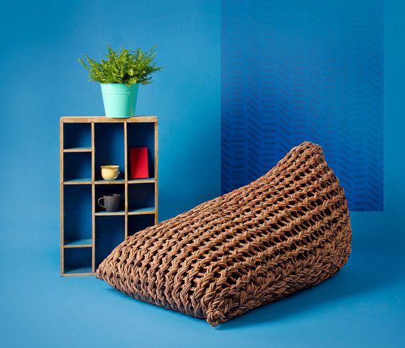 Adult Bean bag. Brown bean bag chair ottoman. Cozy home decor Interior decor.