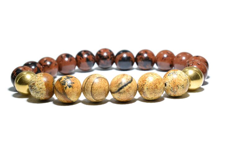 Unisex Bracelet featuring Jasper and Brown Obsidian Beads, with two bronze-plated Sterling Silver spacer beads.