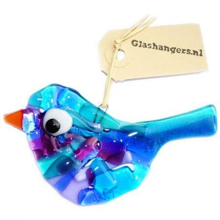 Handgemaakte blauw-paarse glazen vogel.