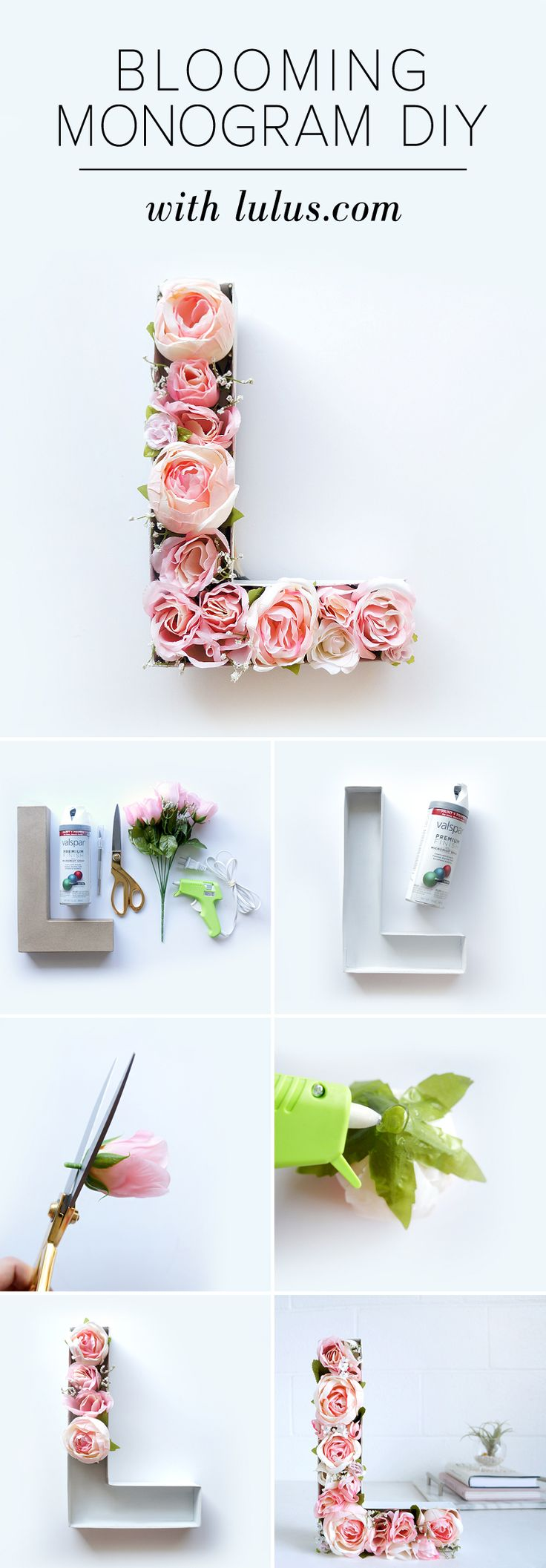 { Blooming monogram } Different faux flowers for each letter to spell out a word.