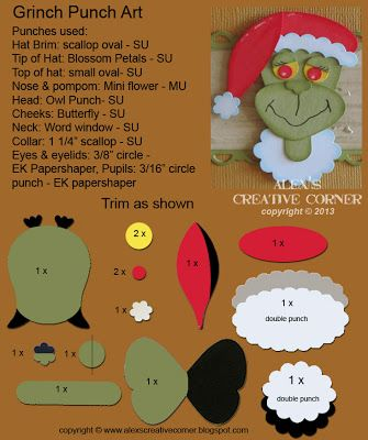 Alex's Creative Corner: Grinch Christmas Punch Art Instructions