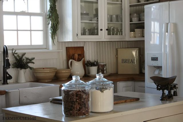 Vintage Farm House Kitchen and Dining Room + White + Beach Bungalow + Cottage +