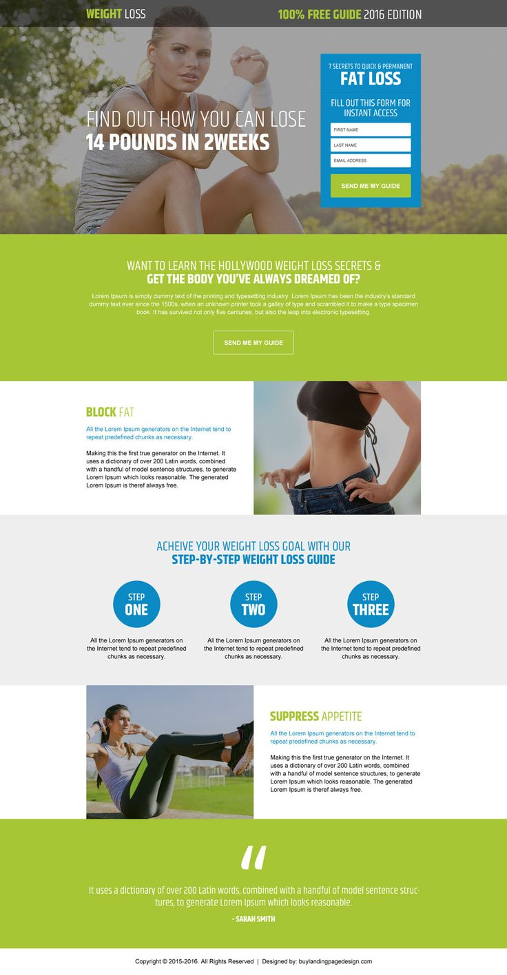 step by step weight loss guide responsive landing page