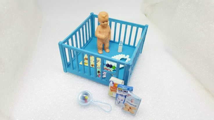 Renwal Blue Play pen and Toddler Doll House Toy Plastic Baby Nursery Crib Baby cage #renwal #collectors