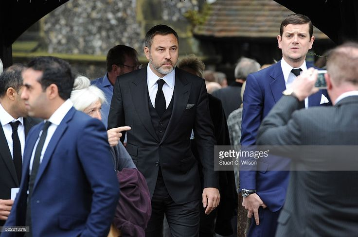 David Walliams departs the funeral of entertainer Ronnie Corbett on April 18, 2016 in Shirley, England. Ronnie Corbett best known for BBC comedy sketch show The Two Ronnies, died aged 85.