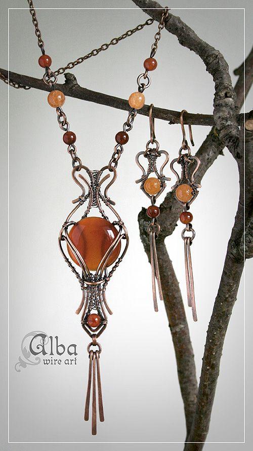 """комплект """"Осенний дождь"""" и просто кулон by Alba Wire Art"""