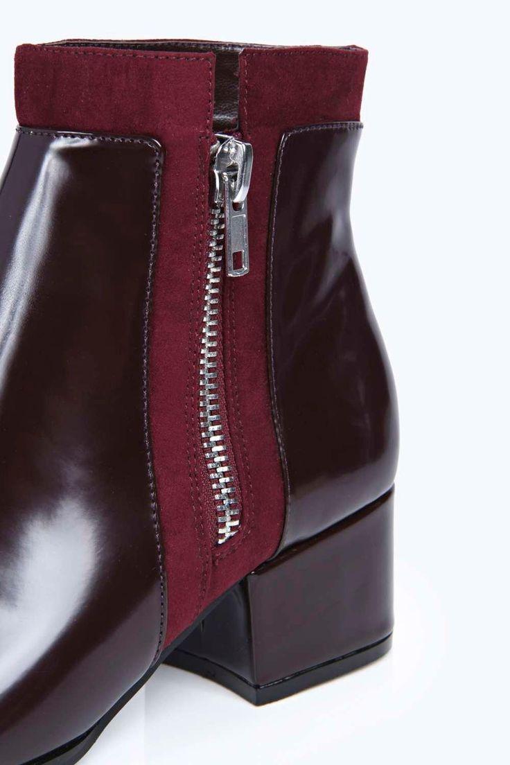 Eva Zip Trim Pointed Block Heel Boots at boohoo.com
