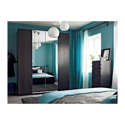 MALM Cómoda de 6 cajones - negro-marrón/espejo - IKEA