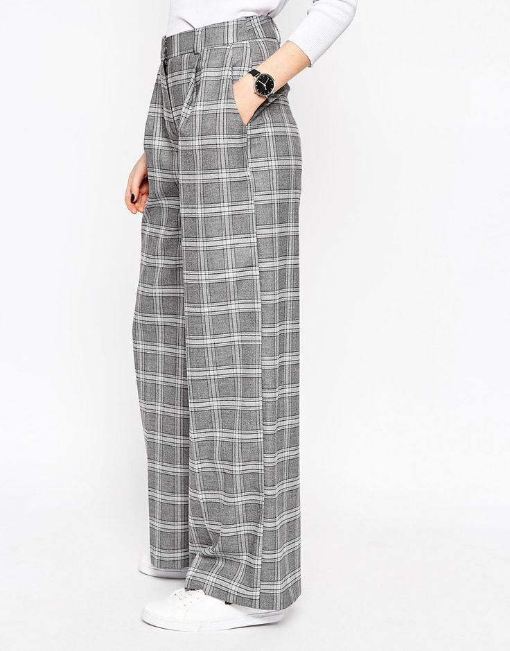 Image 4 ofASOS Relaxed Wide Leg Trouser in Check Co-ord