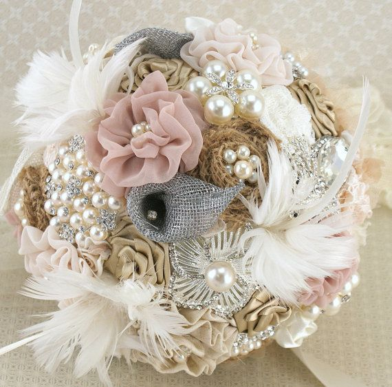 Brooch Bouquet Shabby Chic Glam in Ivory, Champagne and Blush with Linen, Lace, Pearls, Burlap and Feathers via Etsy