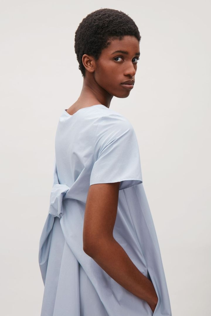 Dress with draped back in Dusty Blue