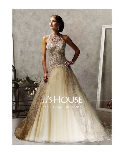 Elegant A-Line/Princess Halter Chapel Train Satin Tulle Wedding Dress with Lace Beadwork~~  JJs House