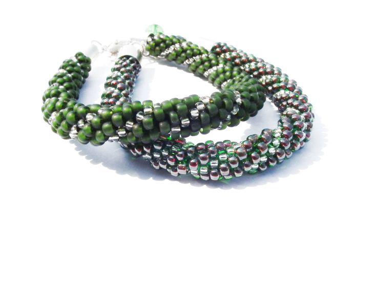 Set Of 2 Bracelets Bracelets For Women Double Bracelets Bead Crochet Green Bracelets Toho Seed Beads Bracelet Crochet Rope Beaded by MadeByJoLis on Etsy