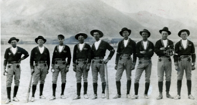 The Elsinore, Utah, baseball team (l to r) James Christensen, Albert O. Engar, Dan Jensen, Chris Peter Christensen, Christie Lee, Charles J. Engar, Peter Michael Hansen, Charles Jensen, James Sorensen