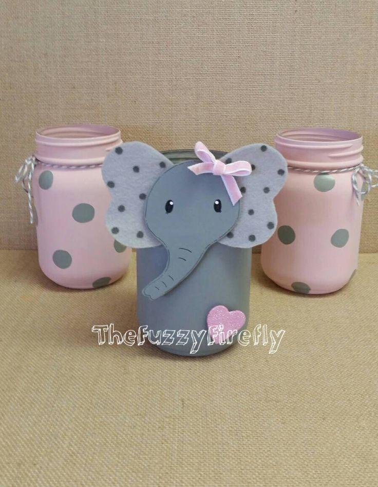 Original Design Set of 3 Cute Elephant Pink/ Grey Mason Jar Centerpieces,Elephant Baby Shower Decor,Cute Elephant Room Decor,Elephant Party by TheFuzzyFirefly on Etsy https://www.etsy.com/listing/544848703/original-design-set-of-3-cute-elephant
