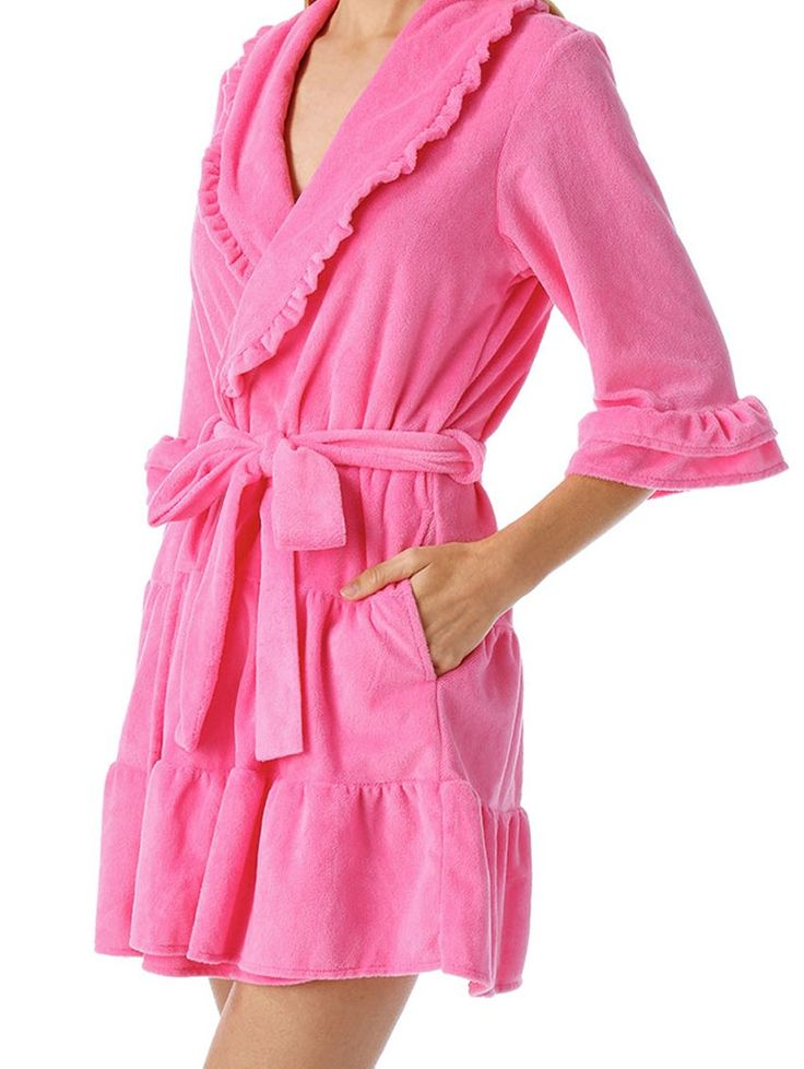 A perfectly sweet and comfy robe complete with vintage ruffle touches. Lavishly soft terry cloth pampers your skin while you hop out of a bubble bath and get ready for the day. Available in sizes Small-Large.