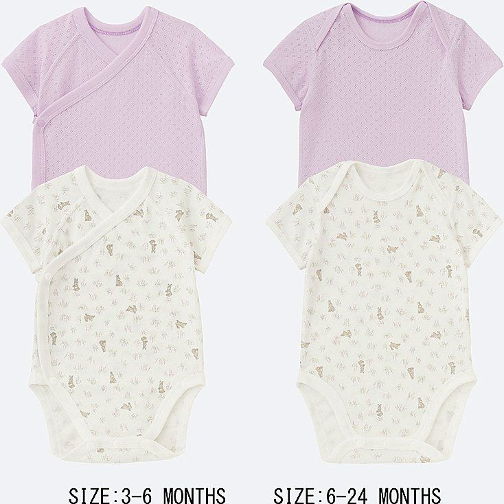 BABIES NEWBORN Crew Neck Short Sleeve Bodysuit - 2 Pack