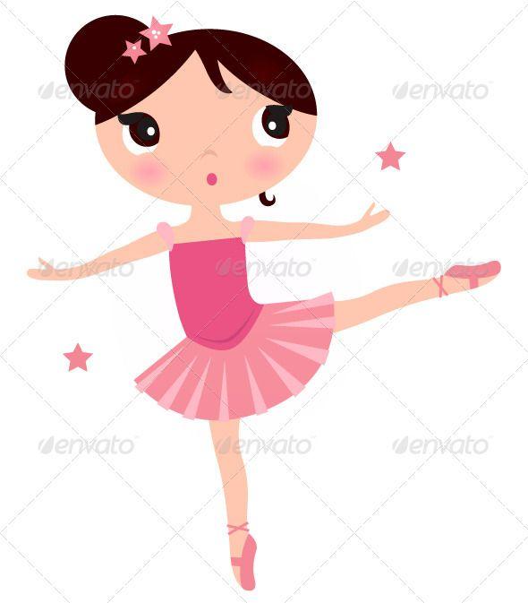 Ballerina Girl Isolated on White Vector