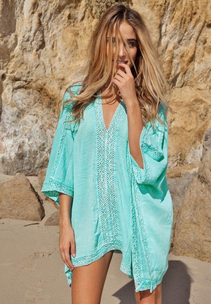 93e0e027bb8 Schönes Strandkleid in türkis im Boho-Hippie look one size in Kleidung    Accessoires