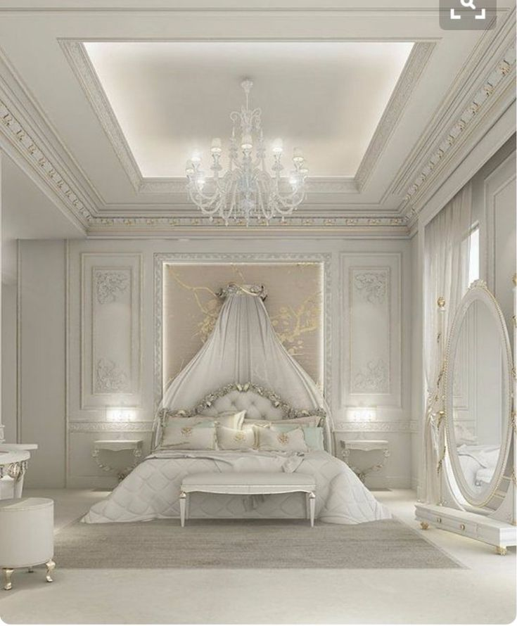 Stunning fairytale white bedroom design with a golden touch   www.masterbedroomideas.eu #masterbedroomideas #bedroomideas #goldbedrooms #whiteandgoldbedrooms #bedroomdesign #designideas