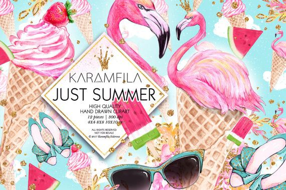 Flamingo Clipart, Clipart Sommer, Eis Clipart Fashion Illustration Pool Party Wassermelone Erdbeer Rosa Gold Glitter Planer liefert