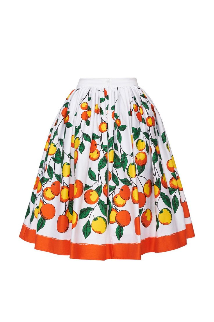 Vintage Gathered Petite Skirt in Orange Print