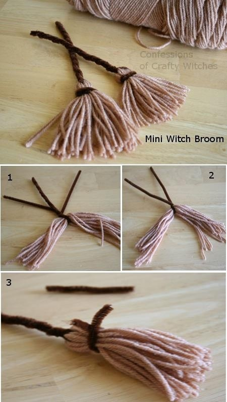 Witch brooms. Would be adorable with a yarn witch.