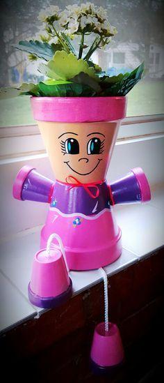 Pink/Purple Clay Pot Person / Flower Pot