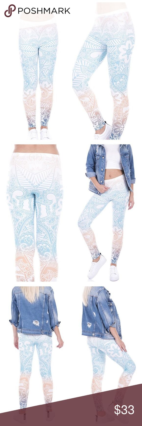 """MANDALA PRINT YOGA LEGGINGS Anything but basic.   MANDALA Leggings that are EVERYTHING you want in leggings-- soft and comfortable and UBER Trendy.  So refresh your practice and get even more excited about your workout in these gorgeous new leggings, same quality as high end leggings at a fraction of the cost.   ONE SIZE FITS COMFORTABLY 0-10 88% poly, 12% spandex length 36"""" Pants Leggings"""