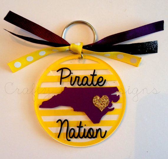 ECU Pirate Nation State Glitter Heart Keychain on Etsy, $8.00