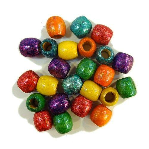 Wooden Dread Beads, Rainbow Glitter (Large)