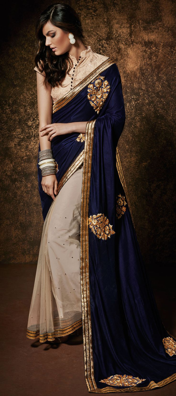 154929: Beige and Brown,Blue color family Embroidered Sarees,Party Wear Sarees with matching unstitched blouse.
