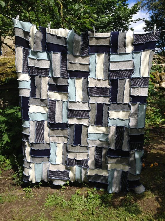 Thick Wool Upcycled Bedspread, Afghan Blanket, Quilt, Settee Throw, Rug, Picnic Blanket Handmade in UK  Patchwork Style. Blues, Greys