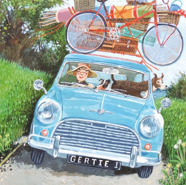 'Road Trip' By Painter Stephanie Lambourne. Blank Art Cards By Green Pebble. www.greenpebble.co.uk
