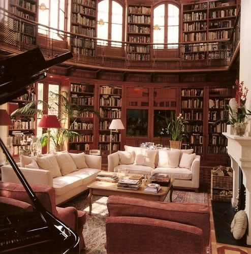 Multi-level bookshelves my dreamLibraries Room, Dreams Libraries, Dreams Home, Home Libraries, Grand Piano, The Piano, Living Room, Dreams Room, The Beast