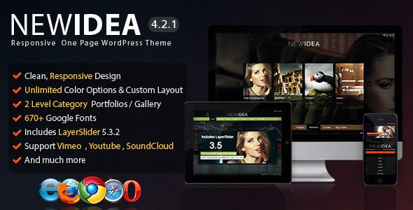 New Idea - Responsive One Page Wordpress Theme - Portfolio Creative