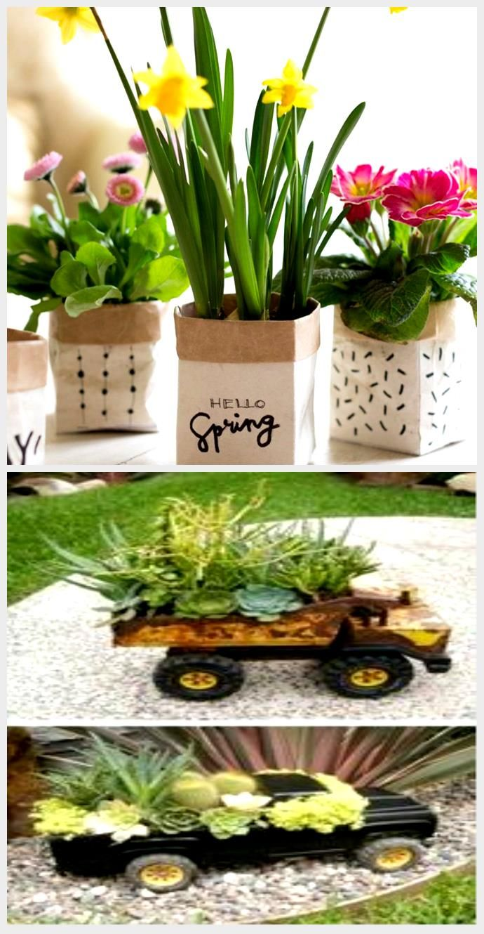Little spring greetings DIY plant pots from milk cartons