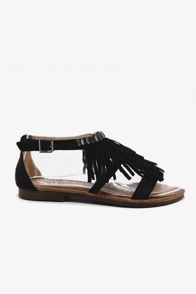 sandales plates franges noires je veux pinterest assiettes. Black Bedroom Furniture Sets. Home Design Ideas